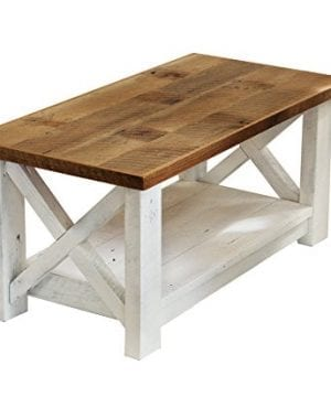 Farmhouse Coffee Table With White Base X Made From Reclaimed Wood 0 300x360