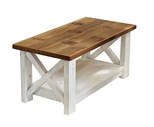 Farmhouse Coffee Table With White Base X Made From Reclaimed Wood 0
