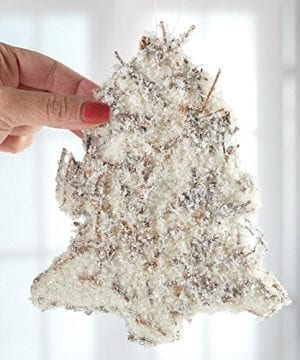 Group Of 3 Snowy Twig And Glitter Tree Ornaments Farmhouse Natural Holiday Decor 0 0 300x360