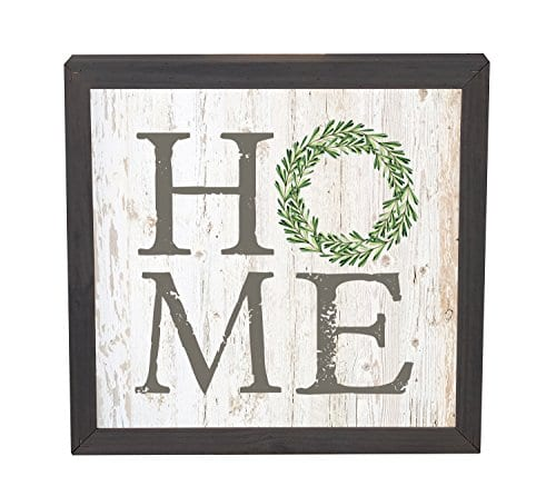 Home Laurel Wreath White Wash 11 X 11 Inch Solid Pine Wood Farmhouse Frame Wall Plaque 0