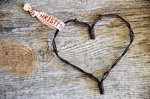 Merry Christmas Barbed Wire Heart Ornament Barb Wire Western Christmas Farmhouse Rustic Wedding Favor Country Wedding Decor Cabin Christmas Primitive 0