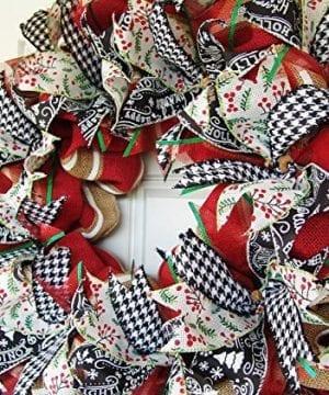 Modern Farmhouse Real Burlap And Ribbon Christmas Winter Door Wreath Handmade Hand Crafted 0 0 300x360