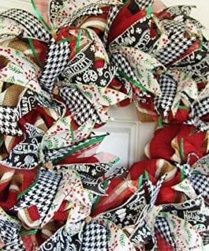 Modern Farmhouse Real Burlap And Ribbon Christmas Winter Door Wreath Handmade Hand Crafted 0 1 300x360
