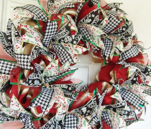 Modern Farmhouse Real Burlap And Ribbon Christmas Winter Door Wreath Handmade Hand Crafted 0 1