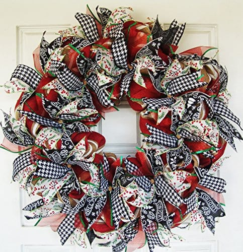 Modern Farmhouse Real Burlap And Ribbon Christmas Winter Door Wreath Handmade Hand Crafted 0