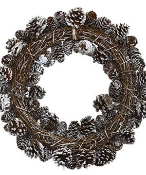 Nearly Natural 4553 Snowy Pine Cone Wreath 0 0 300x360