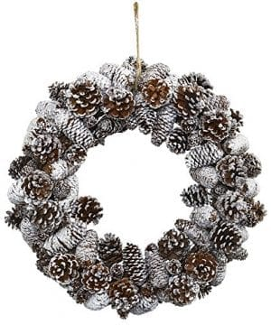 Nearly Natural 4553 Snowy Pine Cone Wreath 0 300x360