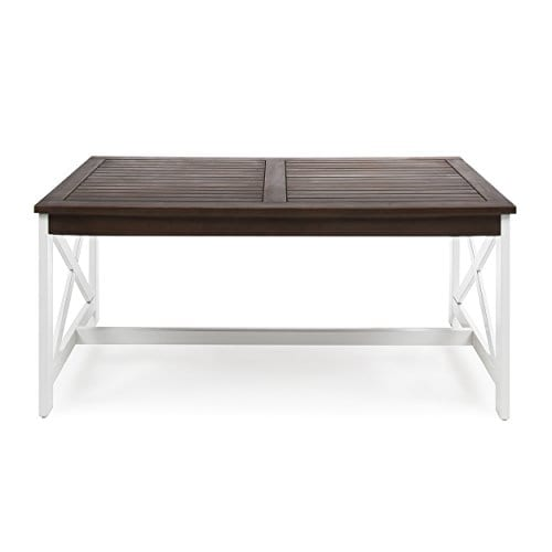 Newman Indoor Farmhouse Dark Brown Finished Acacia Wood Coffee Table With A White Base 0