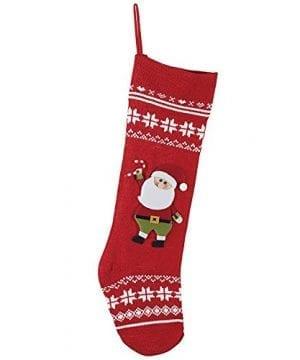 Nordic Knit Snowflake Santa Claus Applique 24 Inch Christmas Stocking Decoration 0 0 300x360
