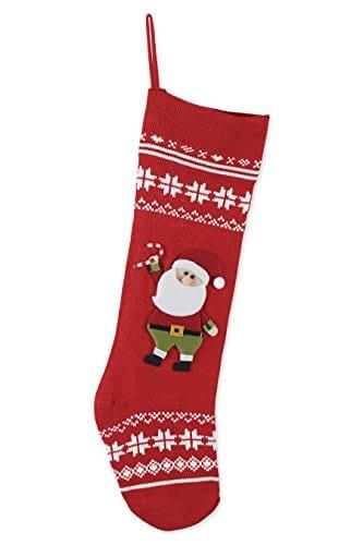 Nordic Knit Snowflake Santa Claus Applique 24 Inch Christmas Stocking Decoration 0