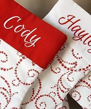 Personalized Christmas Stocking Red Warm White Classic Whimsical Design 0 0 300x360