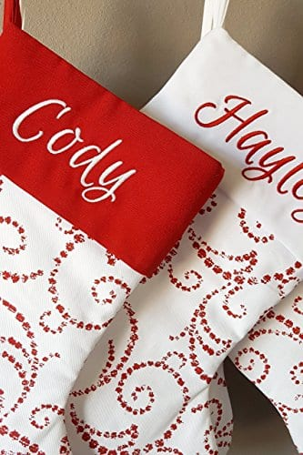 Personalized Christmas Stocking Red Warm White Classic Whimsical Design 0 0
