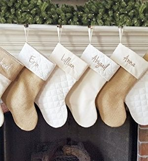 Personalized Christmas Stocking In Natural Burlap Ivory Cream Quilted Cotton Choose From 6 Different Styles 0 0 300x327