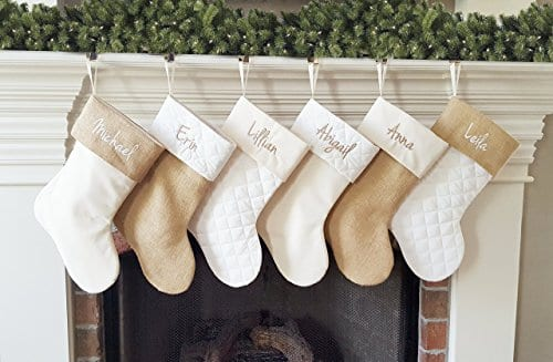 Personalized Christmas Stocking In Natural Burlap Ivory Cream Quilted Cotton Choose From 6 Different Styles 0 0