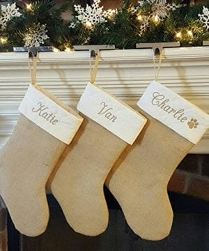 Personalized Christmas Stocking In Natural Burlap Ivory Cream Quilted Cotton Choose From 6 Different Styles 0 1 300x360