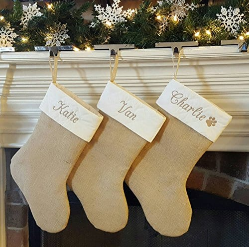 Personalized Christmas Stocking In Natural Burlap Ivory Cream Quilted Cotton Choose From 6 Different Styles 0 1