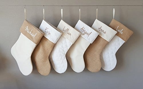 Personalized Christmas Stocking In Natural Burlap Ivory Cream Quilted Cotton Choose From 6 Different Styles 0 2
