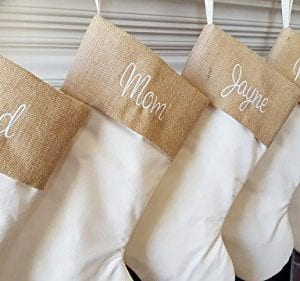 Personalized Christmas Stocking In Natural Burlap Ivory Cream Quilted Cotton Choose From 6 Different Styles 0 3 300x281