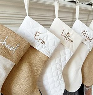 Personalized Christmas Stocking In Natural Burlap Ivory Cream Quilted Cotton Choose From 6 Different Styles 0 300x305