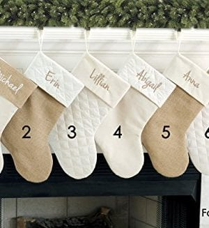 Personalized Christmas Stocking In Natural Burlap Ivory Cream Quilted Cotton Choose From 6 Different Styles 0 4 300x327