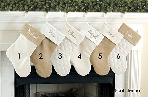 Personalized Christmas Stocking In Natural Burlap Ivory Cream Quilted Cotton Choose From 6 Different Styles 0 4