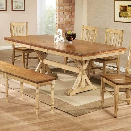 Quails Run Trestle Dining Table Butterfly Leaf