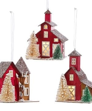 RAZ 4 Inch Lighted Holiday Farm House Barn Ornament 3 Assorted 0 300x360