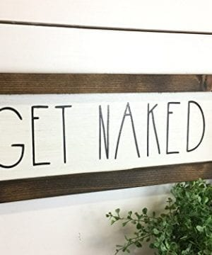 Rustic Bathroom Get Naked Sign Bathroom Decor Wood Sign Farmhouse Bathroom Wall Hanging 0 300x360