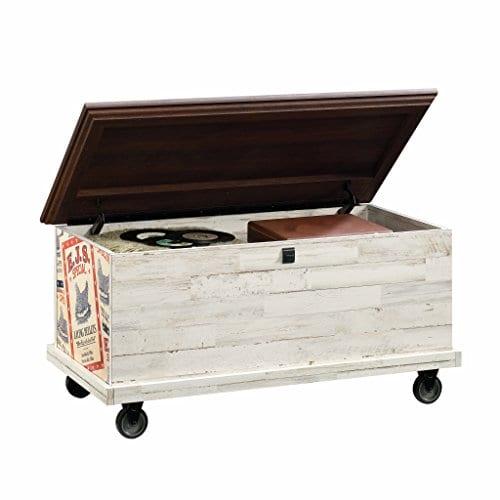 Sauder 419590 Eden Rue Rolling Chest White Plank 0 0