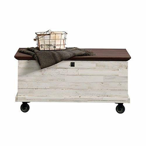 Sauder 419590 Eden Rue Rolling Chest White Plank 0