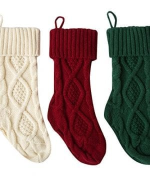 Set Of 2 Red And White Knit Christmas Stockings 18 0 300x360