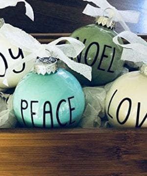 Set Of 4 Small Pastel Christmas Ornaments Farmhouse Decoration Joy Peace Noel Love 0 0 300x360