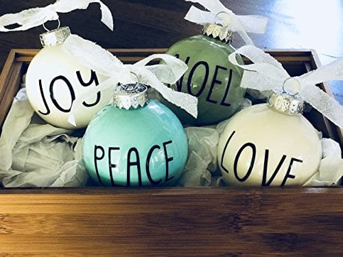 Set Of 4 Small Pastel Christmas Ornaments Farmhouse Decoration Joy Peace Noel Love 0 0