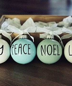 Set Of 4 Small Pastel Christmas Ornaments Farmhouse Decoration Joy Peace Noel Love 0 300x360