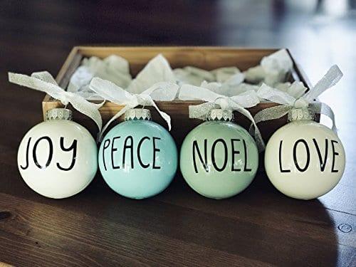 Set Of 4 Small Pastel Christmas Ornaments Farmhouse Decoration Joy Peace Noel Love 0