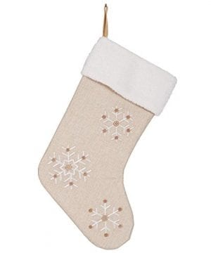 Snowflake 185 Inch Burlap Christmas Stocking With Sherpa Cuff Decoration 0 0 300x360