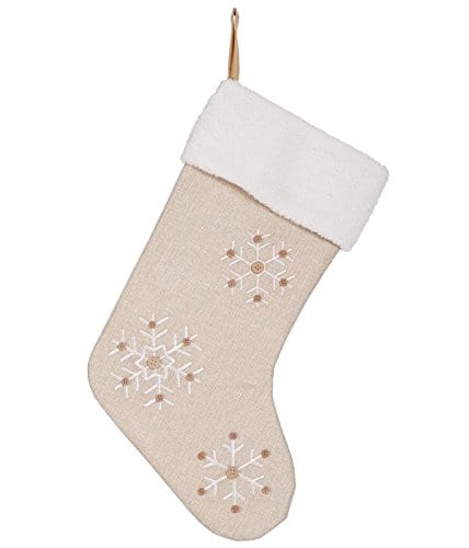 Snowflake 185 Inch Burlap Christmas Stocking With Sherpa Cuff Decoration 0 0