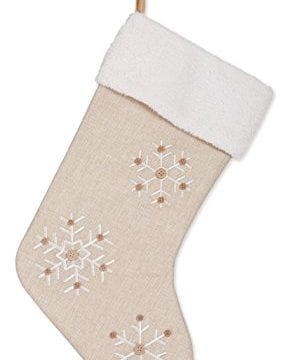 Snowflake 185 Inch Burlap Christmas Stocking With Sherpa Cuff Decoration 0 289x360
