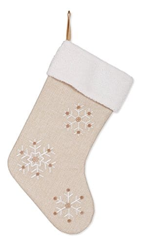 Snowflake 185 Inch Burlap Christmas Stocking With Sherpa Cuff Decoration 0
