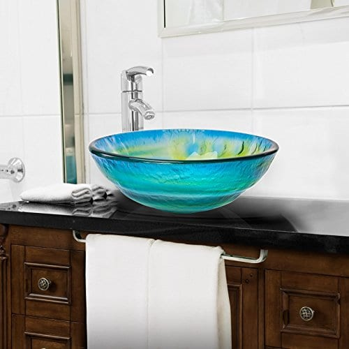 Tempered Glass Vessel Bathroom Sink Round Yellow Blue Green
