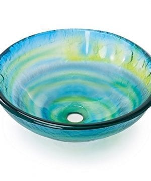 Tempered Glass Vessel Bathroom Vanity Sink Round Bowl Glazed Multi Color Yellow Blue Green 0 300x360