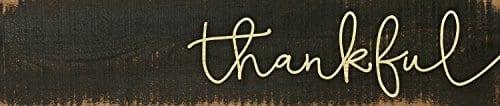 Thankful Script Design Black 3 X 12 Inch Solid Pine Wood Farmhouse Stick Sign 0