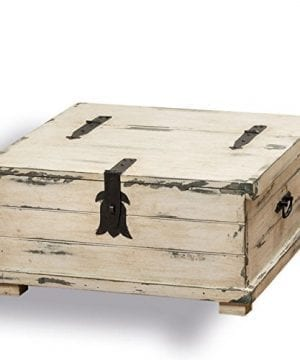 The Cape Cod Steamer Trunk Coffee Table And Storage Box Approx 2Ft Square Rustic Creamy White Pale Blue Vintage Gray Distressed Finish Nautical Style Black Hardware By Whole House Worlds 0 300x360