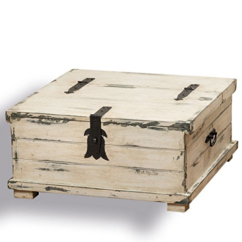 Whole House Worlds The Cape Cod Steamer Trunk Coffee Table And Storage Box Rox 2ft Square Rustic Creamy White Pale Blue Vintage Gray