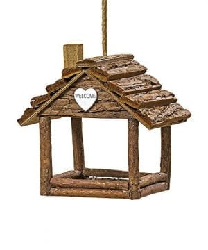 The Cozy Cabin Bird House Plant Hanger Holiday Ornament Rustic Log Cabin Natural Wood Bark And Twine White Heart Accent 7 L X 5 W X 7 H By Whole House Worlds 0 300x360