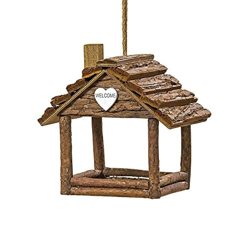 The Cozy Cabin Bird House Plant Hanger Holiday Ornament Rustic Log Cabin Natural Wood Bark And Twine White Heart Accent 7 L X 5 W X 7 H By Whole House Worlds 0