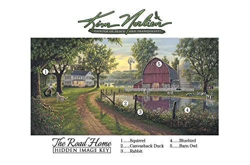 The Road Home By Kim Norlien 24x42 Farm House Red Barn Windmill Silo Cows Pond Dog Country Framed Art Print Picture 0 1