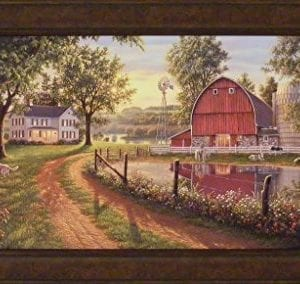 The Road Home By Kim Norlien 24x42 Farm House Red Barn Windmill Silo Cows Pond Dog Country Framed Art Print Picture 0 300x284