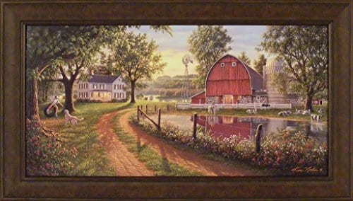 The Road Home By Kim Norlien 24x42 Farm House Red Barn Windmill Silo Cows Pond Dog Country Framed Art Print Picture 0