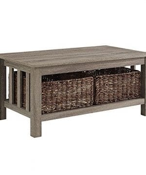 WE Furniture 40 Wood Storage Coffee Table With Totes Driftwood 0 0 300x360